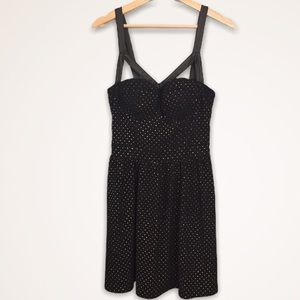 Strappy Dress Black Gold Fitted Bodice Sans Souci